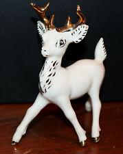 Vtg Christmas White Ceramic Reindeer Figurine Handpainted gold trim 1957