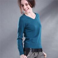 Womens Solid V-neck Cashmere Sweater Short Warm Pullover Slim Knitted Top Blouse