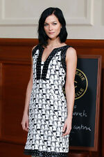 Authentic CHANEL Women's Black White Holographic Organza Dress Cruise Dubai 2015