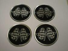 50mm Alloy Wheel Center Centre Badges Rally Motorsport Checkered Flag Logo 16m