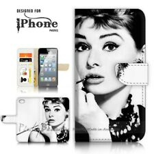 ( For iPhone 6 / 6S ) Wallet Case Cover P21320 Audrey Hepburn