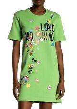NWT LOVE MOSCHINO $423 SWEATSHIRT DRESS FLORAL LOGO SHORT SLEEVE SZ M US 10 IT46