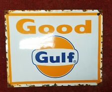 PORCELAIN GULF GOOD GULF Pump Plate Gas Oil Sign