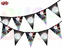 Dance Floor and Disco Ball Triangle Happy Birthday Theme Bunting Banner 15 flags