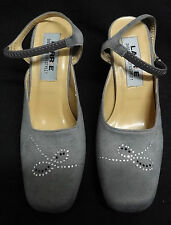 BEAUTIFUL FAUX SUEDE GREY CLOSED TOE HEELS - SIZE 3 - EXCELLENT CONDITION