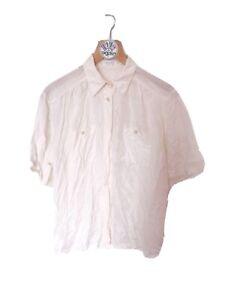 Vintage M 14 100% Silk Short Sleeve White Blouse Shirt Gold Pearl Button Collar