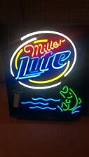 "Miller Lite Fish Fishing Got Hooked Neon Light Sign 24""x20"" Beer Bar Decor Lamp"