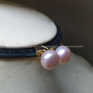 Elegant Pair Natur South Sea Genuine Lavender Purple Pearl Earring 14k Gold P