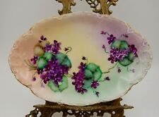 ANTIQUE HAVILAND LIMOGES  HAND PAINTED VIOLET TRAY PLATTER ...WOW