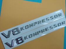 TWO SETS OF * V8 KOMPRESSOR * SIDE PANEL EMBLEM BADGES FOR ALL MERCEDES BENZ