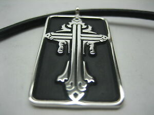 Sterling silver 925 cross tag necklace with Italian leather cord for men/women.