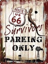 Route 66 Survivors Parking Only Blechschild 3D geprägt Tin Sign 30 x 40 cm