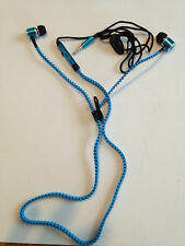 Iphone Blue  and Pink Zipper Stereo Headphone