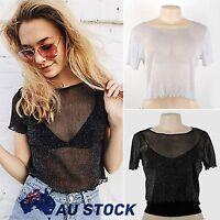 Women Summer Mesh Sheer See-through Crop Top Shirt Celeb Party Glitter Clubwear