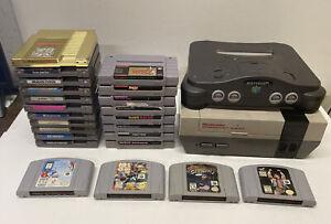 NINTENDO GAME & CONSOLE LOT OF 25 NES N64 SNES SUPER ZELDA STARFOX JOE MAC