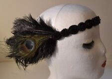 1920's Style Head Flapper Black Beaded Headband with Real Peacock Feathers