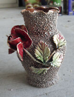 "Unique Vintage A Marked Art Pottery Popcorn Finish Flower Vase 5 5/8"" Tall"