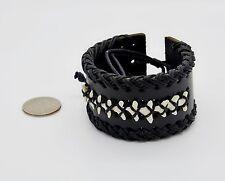 Shark teeth Wristband Adjustable Leather Surfer Bracelet Black set of 3