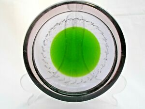 Vintage Galliano Ferro Murano Bullicante Purple & Green Art Glass Bowl 60s Retro