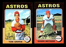 """1975 TOPPS """"TOM GRIFFIN & ROGER METZGER"""" ASTROS #188, 541 NM-MT (COMBINED SHIP)"""