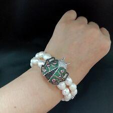 2 Rows White Rice Pearl Cz Pave Beetle Bracelet