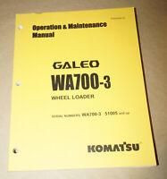 2007 Komatsu WA700 Wheel Loader Operation & Maintenance Manual P/N TEN00066-02