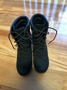 New Timberland Black Camdale Heeled Field Boots sz 8 A2634
