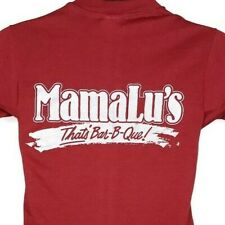 Mama Lus BBQ T Shirt Vintage 80s Ribs 50/50 Made In USA Maroon Size Small