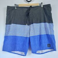 Rip Curl Mens Size 38 Mirage Board Shorts Casual Pocket Grey Blue Stripe White