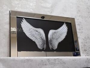 Angel Wings Picture On Glass Mirrored Frame Wall Mirror/liquid ArtWork100x60cm
