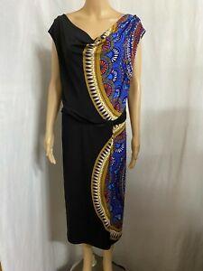 LEONA EDMISTON SIZE 18 BLACK MANDALA PRINTCOWL NECK STRETCH DRESS