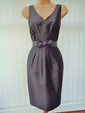 HOBBS GRAPHITE GREY SILK WOOL PLEAT PENCIL DRESS & BOW BELT 10 ONCE £159