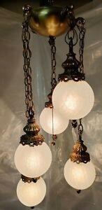 Vintage Swag Hanging Pendant 5 Light Regency Chandelier Fixture Crackle Globes