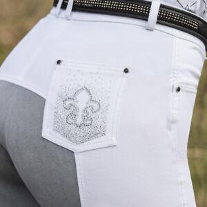 Equetech Ladies Fleur Breeches,Full Suede Seat,Super Soft Stretch Cotton