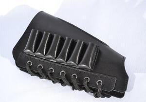 Leather Shotgun Shell Cartridge Buttstock Holder Cover Rest Padded 12 GA New