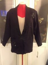 "Nwt ""Adolfo International""Black Floral Emboidered Sequin Chic Staple Blazer Sz M"