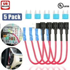 5 Pack 12V 15Amp Car Add-a-circuit Fuse TAP Adapter Kit, Mini ATM APM Blade Fuse