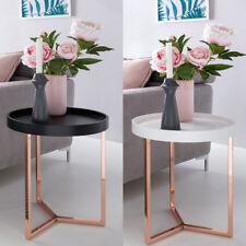 Design Beistelltisch ø40 cm Holz Kupfer Tabletttisch Wohnzimmertisch Couchtisch