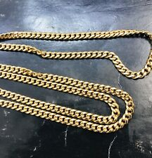 18k  yellow gold flat curb link chain necklace 17.40 grams 26 inches