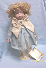 """Collectible Porcelain Doll with Metal Stand by Mann Doll Collectors 16"""" T - BETH"""