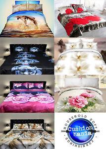 3D Duvet set King/double Size 3PCS Bedding Animal Floral Rose 80 Gsm Quality