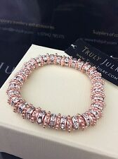Ladies Luxurious Rose Gold And Diamanté Stretch Bracelet Jewellery Gift UK