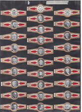 Série complète  Bague de Cigare Vitola Espagne BN115395 Présidents américains
