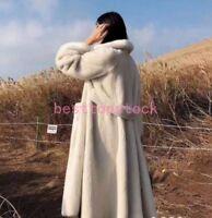 Nerz Pelzmantel Lang Coat Damen warm Winter Jacke Verdicken Parkas Weiß Luxus