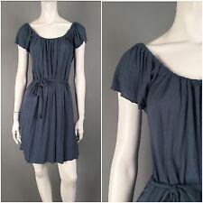 Aubergine : Sm : Gathered Scoop Neck Jersey Tie Waist Peasant Boho Dress Pockets