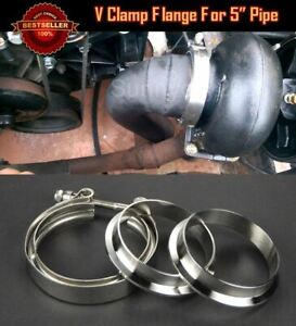 """T304 Stainless Steel V Band Clamp Flange Assembly For Ford 5"""" Inch O.D. Pipe"""