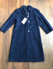 NEW CINZIA ROCCA Dark Navy Peter Pan Collar Pure Lana Wool Coat Size EU34 UK8/10