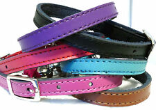 Cat Collar Kitten Real Leather Safety Elastic Bell 6 Colours Free Post