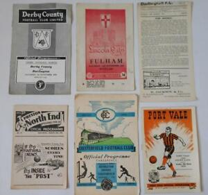 Job Lot of 6 English Football League Programmes 1953-1959. All Different Clubs