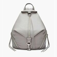 Rebecca Minkoff Large Julian Leather Backpack Full Size Grey Silver Authentc